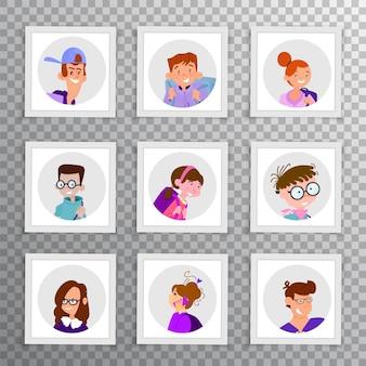 Set of avatars of funny children of schoolchildren