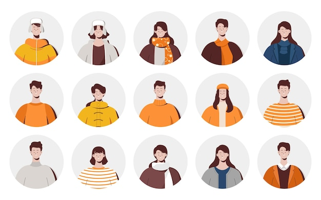 Set of avatars people using autumn clothes