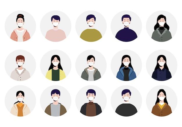 Set of avatars people using face mask