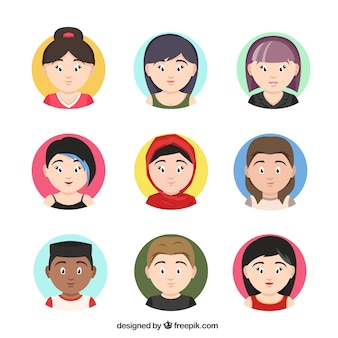 Set of avatars of people with different look