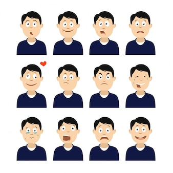 Set of avatars with emotions.