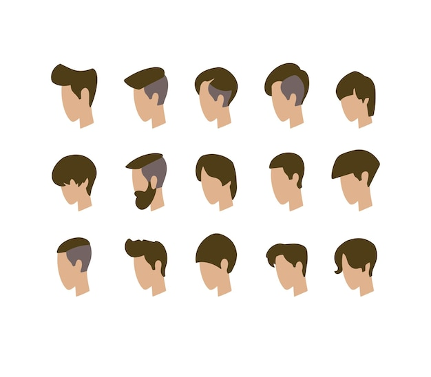 Set of avatars. young guys. vector illustration.