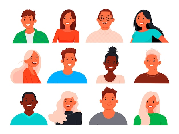 Set of avatars of young people guys and girls.