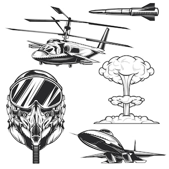 Set of aviation elements for creating your own badges, logos, labels, posters etc.