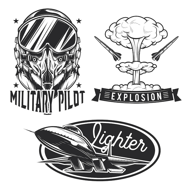 Set of aviation emblems, labels, badges, logos.