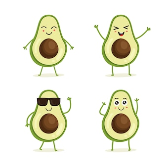 Set of avocado fruit character in different action emotion