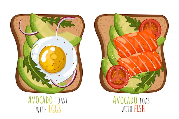 Set of avocado toast with eggs and salmon.