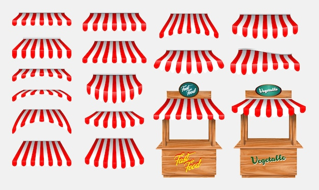Set of awing with wooden market stand stall and various kiosk with red and white striped awning iso