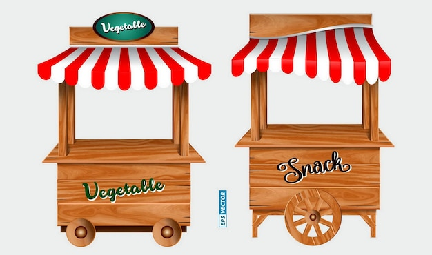 Set of awing with wooden market stand stall and various kiosk with red and white striped awning