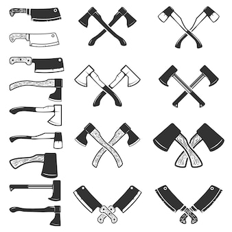 Set of the axe icons  on white background. meat cleaver.  element for logo, label, emblem, sign, poster.  illustration.