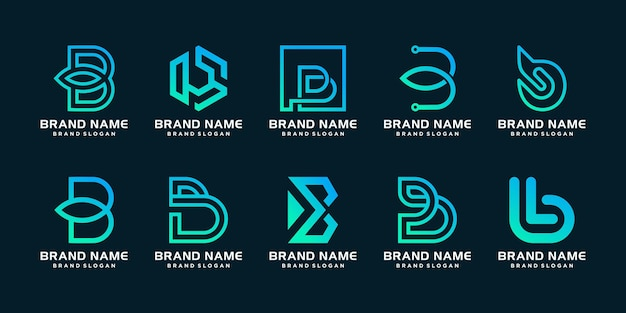 Set of b logo template with modern unique concept