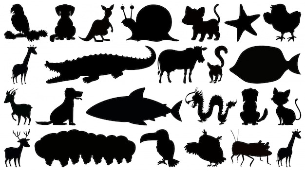 Set of b&w sihouette isolated animals