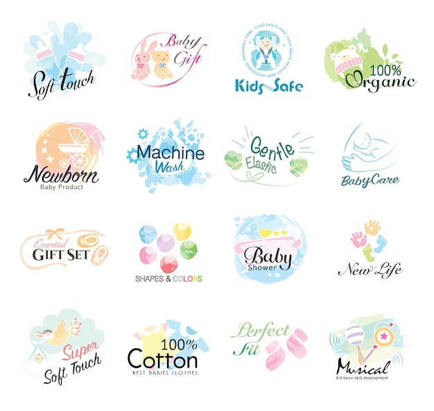 Set of babies icon for kids products and healthy life.