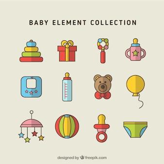 Set of baby accessories in flat design