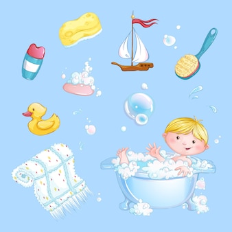 Set of baby bathing stickers. the boy bathes in a bath and a set of bath accessories. cartoon children character.