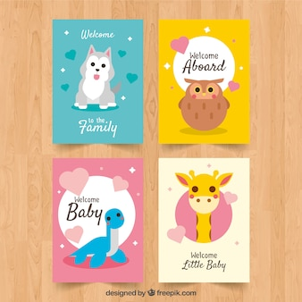 Set of baby cards in flat style