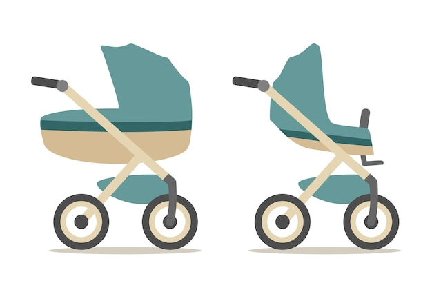 Set baby carriage. color flat vector illustration isolated on white background.