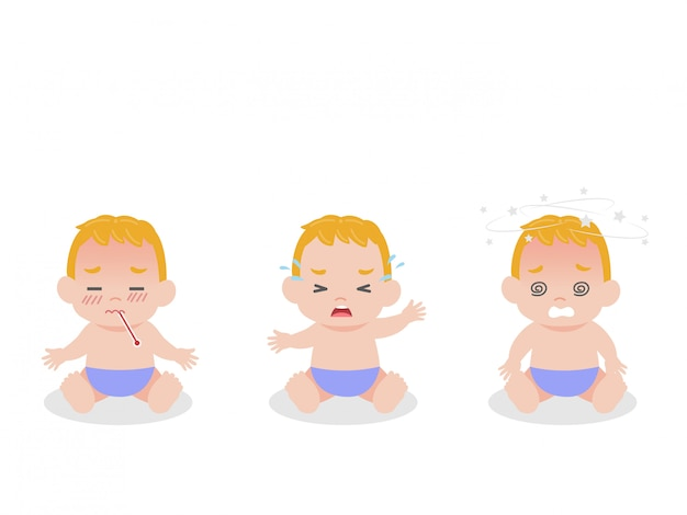 Set of baby children have fever