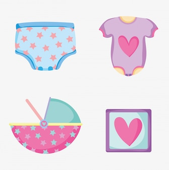 Set baby diapper with pijama and picture things