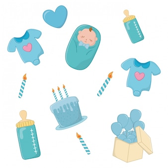Set of baby elements in blue