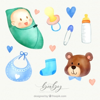 Set of baby elements made with watercolor