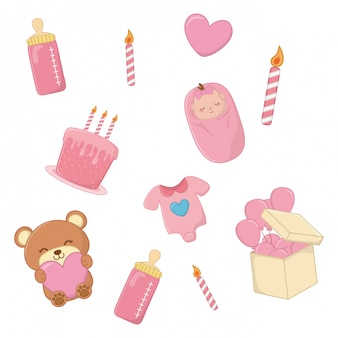 Set of baby elements in pink