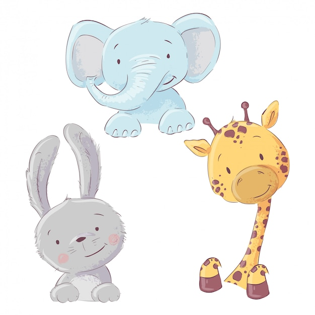 Set of baby elephant bunny and giraffe. cartoon style. vector
