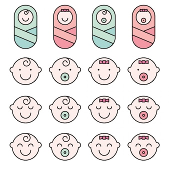 Set baby face simple icons.