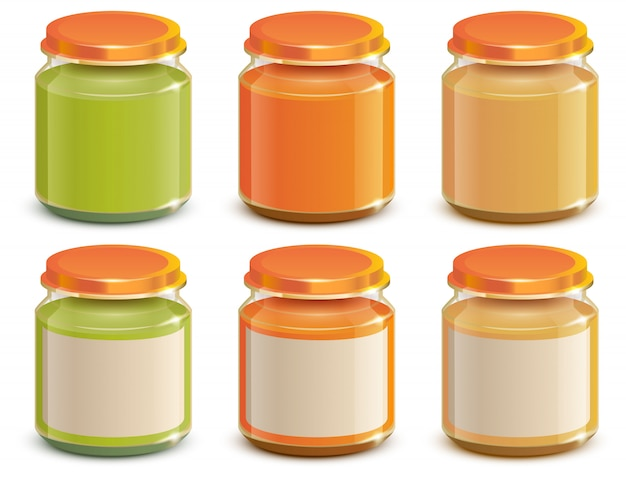 Set baby food puree jar template mockup design