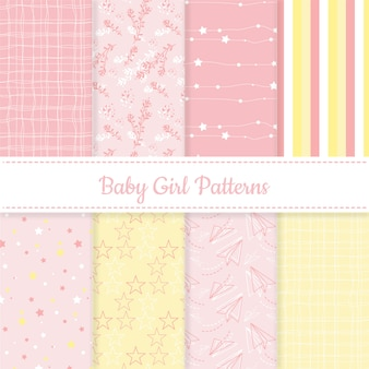 Set of baby girl pink and yellow editable patterns