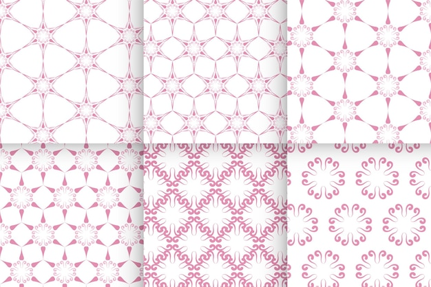 Set of baby girl seamless pattern of pink color