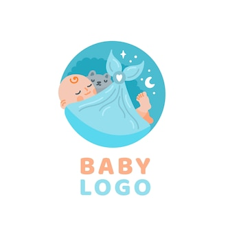 Set of baby logo template