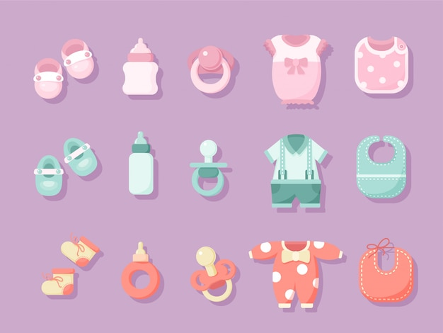 Set of baby objects illustration