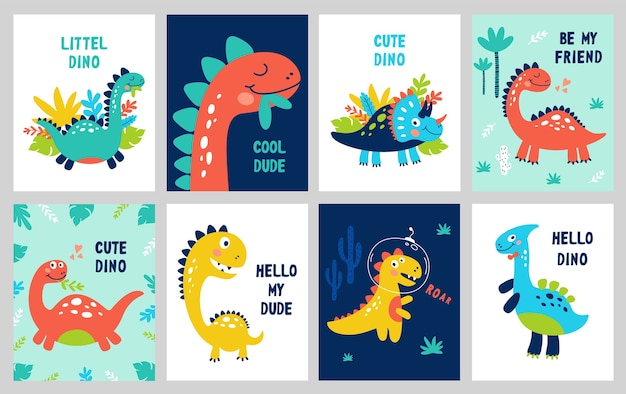 Set baby print with dino. can be used for poster, card, banner, flyer. hand drawn.
