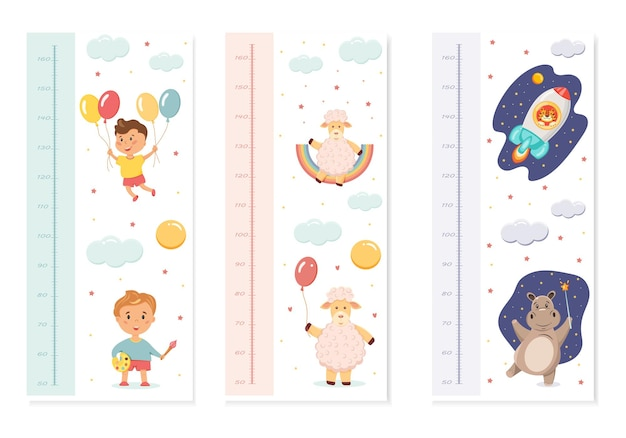 A set of baby rulers for measuring growth with illustrations of cute animals.