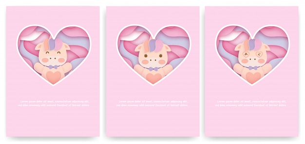 Set of baby shower cards with cute unicorn .