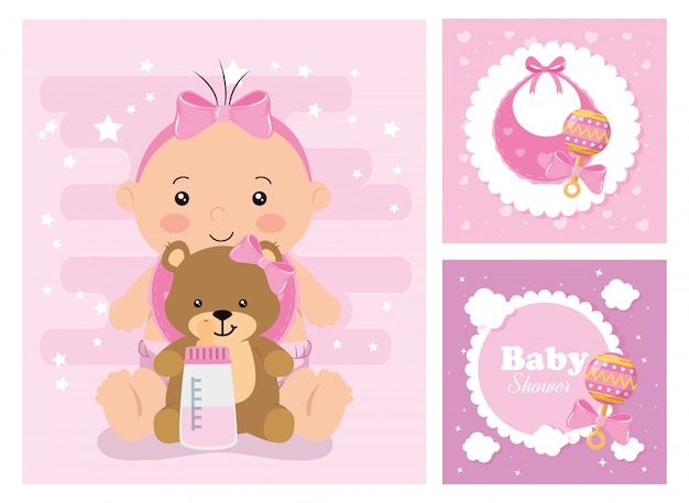 Set of baby shower cards with decoration