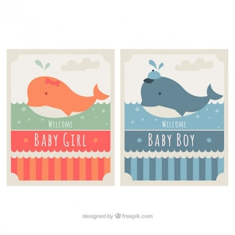 Set of baby shower cards with lovely whales