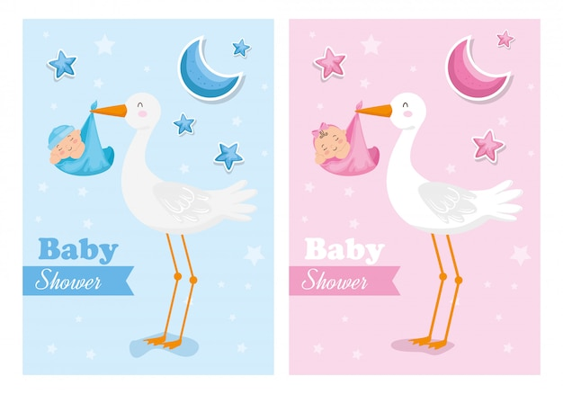 Set of baby shower cards with storks and babies