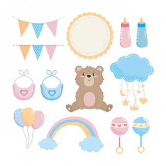 Set of baby shower elements