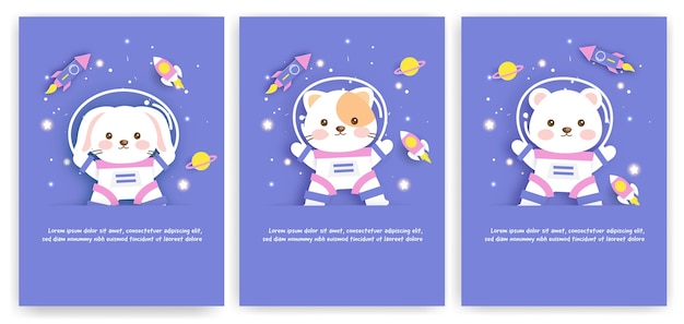 Set of baby shower greeting cards with a cute animals journey into the galaxy for birthday card,postcard