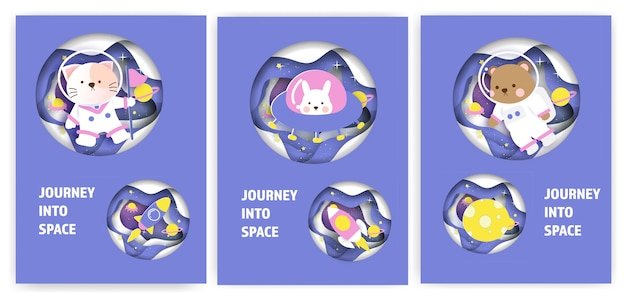 Set of baby shower greeting cards with a cute animals journey into the galaxy.