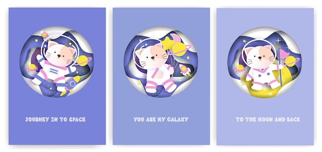 Set of baby shower greeting cards with a cute cat on the galaxy.