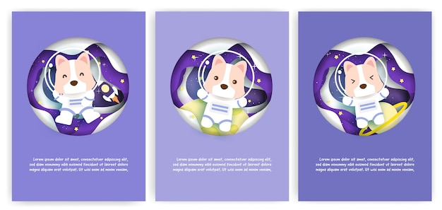 Set of baby shower greeting cards with a cute dog journey into the galaxy for birthday card,postcard