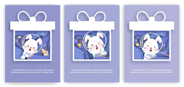 Set of baby shower greeting cards with a cute rabbit journey into the galaxy for birthday card,postcard