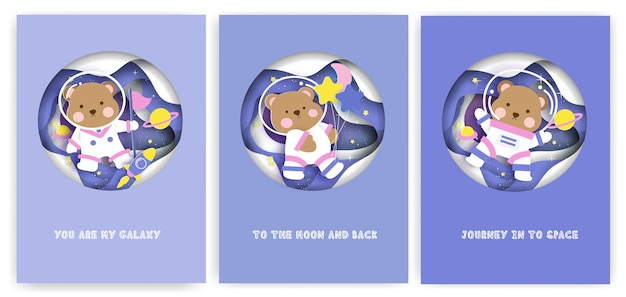Set of baby shower greeting cards with cute teddy bear on the galaxy.