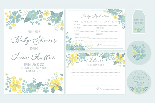 Set baby shower invitation printable templates with floral and baby wishes for new born