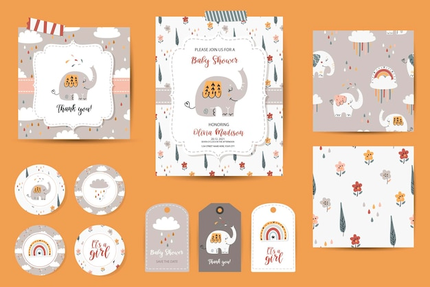 Set of baby shower invitations, thanks cards, tags and seamless patterns.
