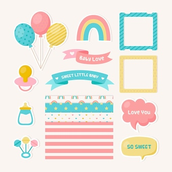 Set of baby shower scrapbook elements