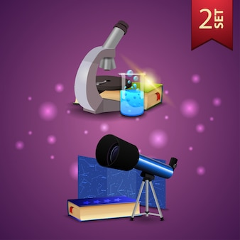 Set of back to school 3d icons, microscope, books, chemical flask and telescope